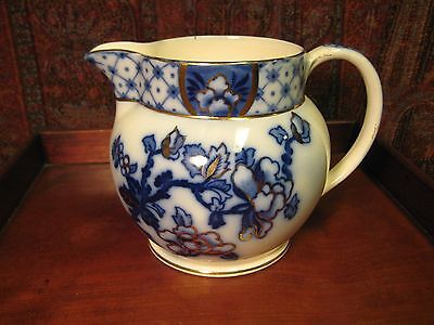 ANTIQUE FLOW BLUE GILDED PITCHER BURSLEY WARE STANLEY POLYCHROME c1900-1915