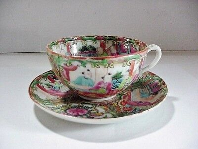 Antique Chinese Export Rose Medallion Cup And Saucer 1840-1890