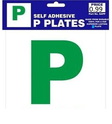 2 x SELF ADHESIVE GREEN NEW DRIVER SECURE P PLATES JUST PASSED FOR CAR VEHICLE