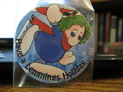 """Lemmings """"Have a Lemmings Holiday"""" Holiday buttton ** Brand NEW **"""