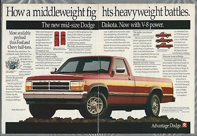 1992 DODGE DAKOTA Pickup 2-page advertisement, Dodge ad, new V-8 Dakota