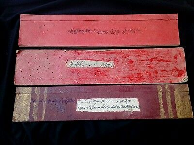 Set 3 Old Thailand Story Cultural handwrite on Mulberry Paper Book Manuscript