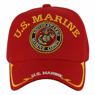 New! Us Marine Corps Usmc Big Round Side Line Cap Hat Red