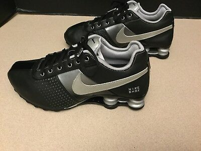 015f887c6ec8 Womens Nike Shox Deliver Leather Black Metallic Silver Running Shoes. Size  7.