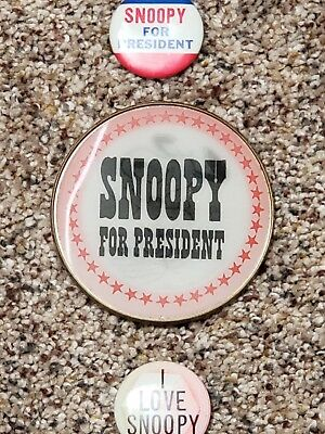 Vintage Snoopy For President Flicker Button Peanuts I Love Snoopy Lot 3pc