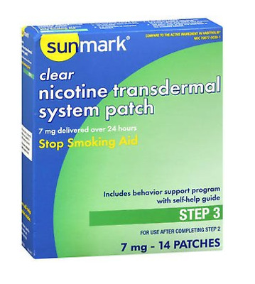 McK sunmark Clear Nicotine Transdermal System Patch 7 mg Step 3 Patches 14 Ct