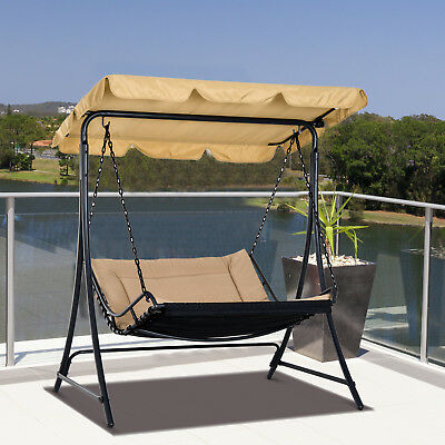 Covered Outdoor Patio Swing Chaise Lounge Bed Hammock Garden Seat Hanging