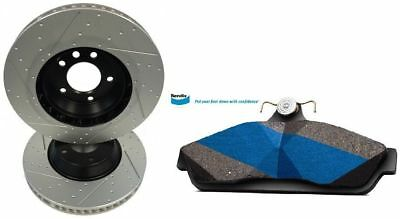 Slotted Dimpled Rear Brake Rotors + Bendix Pads Holden Commodore VT VX VY VZ 041