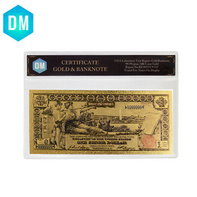 1896 Year One Dollar Colorful Gold Banknote US 24k Gold Banknote In Plastic Case