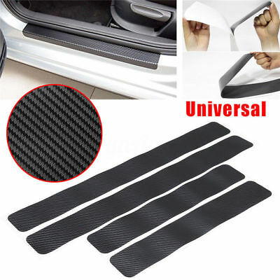 Car Styling Black Protector Sill Scuff Cover Car Door Plate Sticker Carbon Fiber