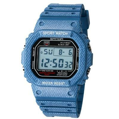 SANDA Sport LED Watch Waterproof Square Date Digital Wristwatch for Men Women