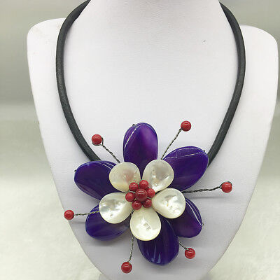 Large Purple Agate Stone White Sea Shell Coral Flower Floral Necklace Pendant