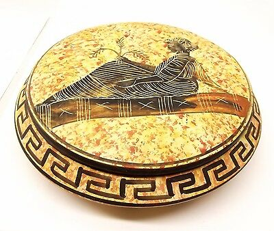 Vtg Greek Pottery Pyxis Lidded Box Jar Reproduction Art Greece BC Museum BC Copy