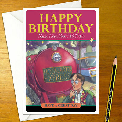 HARRY POTTER Personalised Birthday Card - A5 wizard magic hogwarts train book
