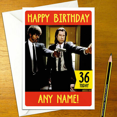 Pulp Fiction Personalised Birthday Card A5 Cult Movie Jackson