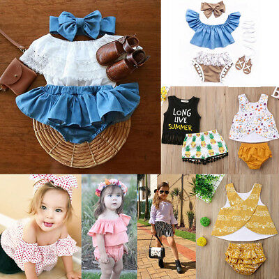 AU STock Newborn Baby Summer Girls Tops+TuTu Shorts Skirts Outfits Set Clothes