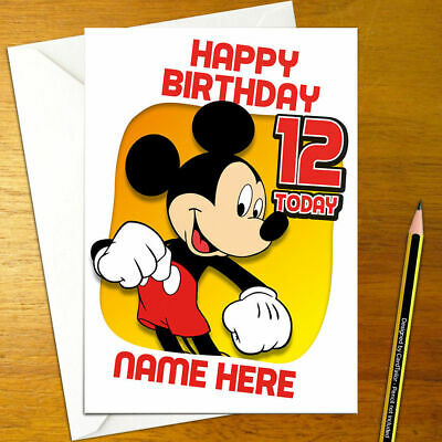 MICKEY MOUSE Personalised Birthday Card - A5 minnie micky disney donald goofy