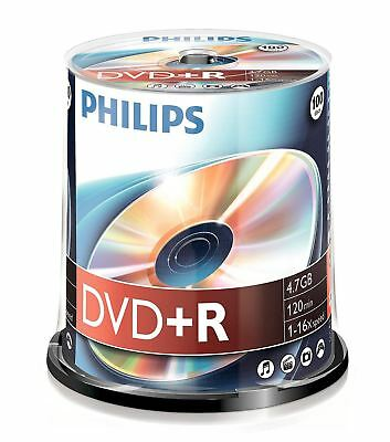 Philips DVD+R 120 Mins 4.7GB 16x Speed Recordable Blank Discs - 100 Pack Spindle