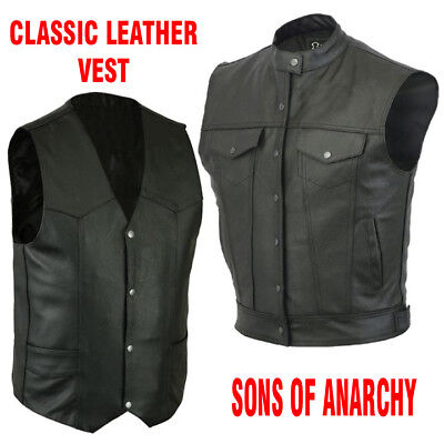 Men Motorcycle biker Leather classic vest Motorbike sons of Anarchy waistcoat