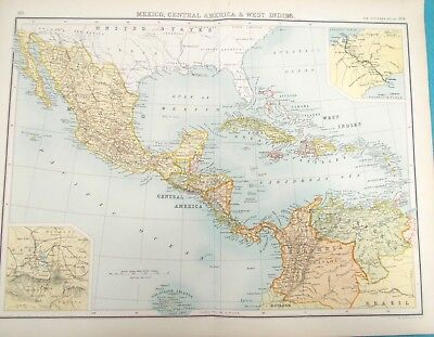 Maps of Caribbean 1898 Original WEST INDIES. JAMICA. CUBA.  Antique