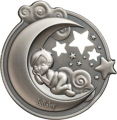 Lullaby - Dreaming Boy $5 1oz Silver Coin with musical box - Cook Islands 2018