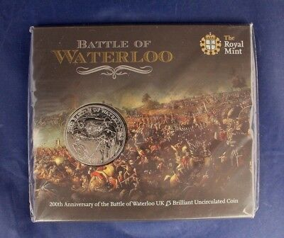 """2015 Royal Mint £5 Crown coin """"Waterloo"""" in Folder - Sealed  (M5/13)"""