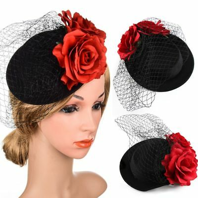 Hot Rose Flower Lady Fascinator Cocktail Hat Clips Hairpins Mesh Veil Hair Band
