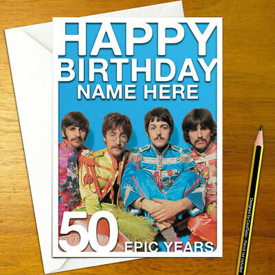 The Beatles Personalised Birthday Card A5 Lennon Mccartney Starr
