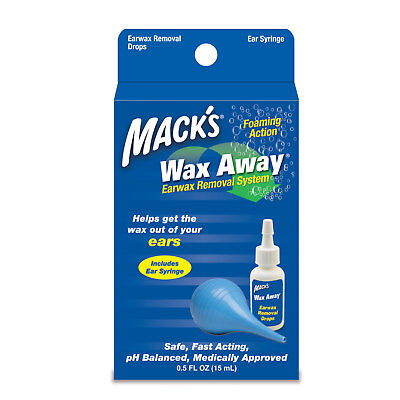 Macks (Mack's) Wax Away Earwax Ear Wax Removal Kit + Ear Drops & Bulb Syringe