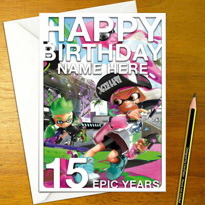 with envelope 01 personalised any name or relation Splatoon Birthday card