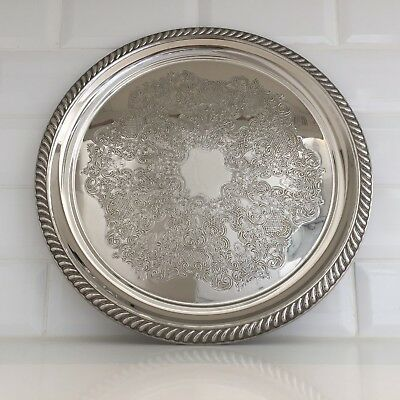 Vintage Antique Silver Plated Serving Tray Round Chased EPNS MR 33cm