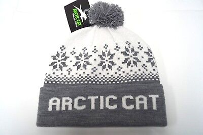 Arctic Cat Gray & White Nordic Knit Pom Snowmobile Adult Beanie Hat 5293-735