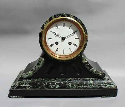 Black Slate and Marble Mantel Clock 19th Century