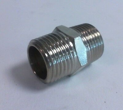 "1/2"" x 1/2"" BSPT Male Hex Threaded Nipple Male Pipe Fitting #23D329"