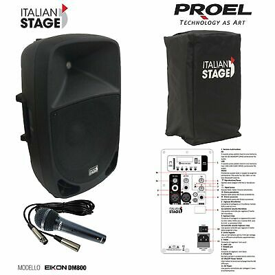 Italian Stage IS P110AUB Cassa attiva 300w max USB Bluetooth + DM800 Mic + Cover