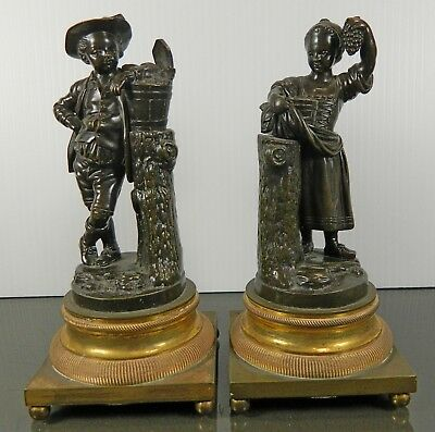 Antique Pair of Empire Style Bronze Figurines Two Peasants Boy and Girl France