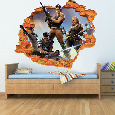 Fortnite 3D Game Effect Smashed Hole in Wall Sticker Children kids Decal Poster