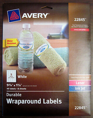 "40 (8 x 5/Sheet) Avery 22845 Laser/Inkjet White Wraparound Labels 9.75"" x 1.25"""