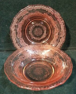"""Set of 2 Federal NORMANDIE Pink Depression Glass 5"""" Fruit Bowl(s) M62"""