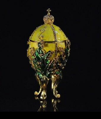 Beautiful Lime Yellow Lilies Of the Valley Faberge Egg Trinket Box and home deco