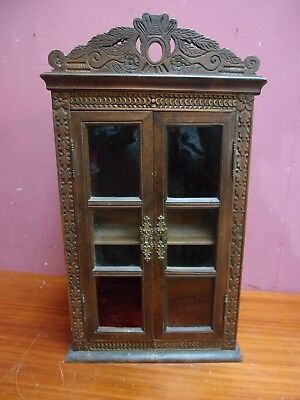 Small Antique French Carved Walnut 2 Door Glazed Cabinet With Adjustable Shelf