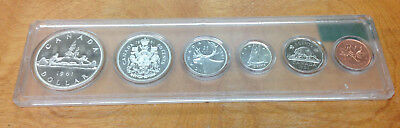 1961 Canadian 6 Coin Proof Like Set In Plastic Display Holder