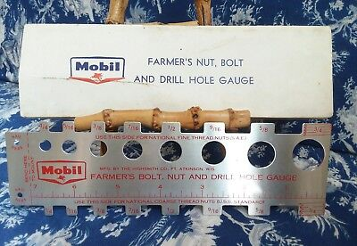 Vinage Mobile Gas Farmer's Nut, Bolt, And Drill Hole Gauge Premium advertising
