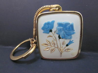 Vintage Sankyo Music Box Keychain Blue Roses Clover A Time For Us