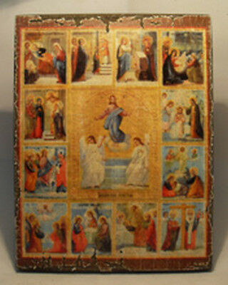 Handmade copy ancient ORTHODOX ICON of Jesus Christ Twelve Great Holidays 191S