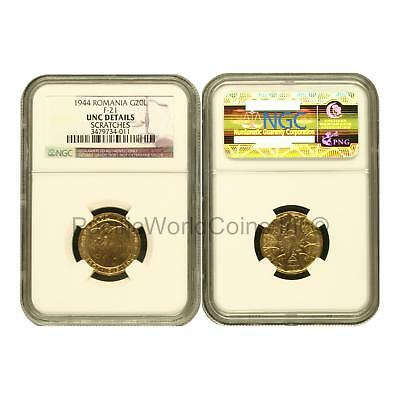 Romania 1944 Romanian Kings 20L Gold NGC UNC Details Scratched SKU#6532