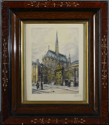 Antique Wood Framed European Architectural Print of Church - illegibly signed