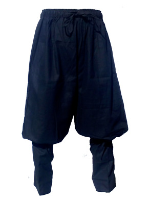 LARP Black and Brown Heavy Cotton Hero Trousers Pantaloons Medieval, Fancy Dress