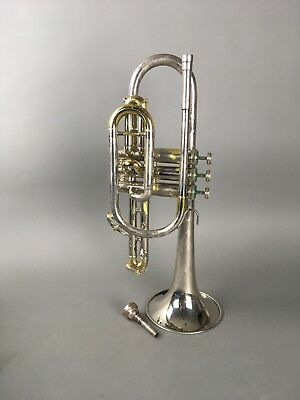 Holton Galaxy Cornet Silver Plated Instrument w/ Vincent Bach Mouthpiece & Case