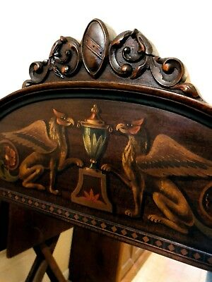 Winged Mythical Griffin / Gargoyle Painted Ornate Wall Mirrow / Civil War Period